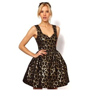ASOS jacquard leopard print mini dress